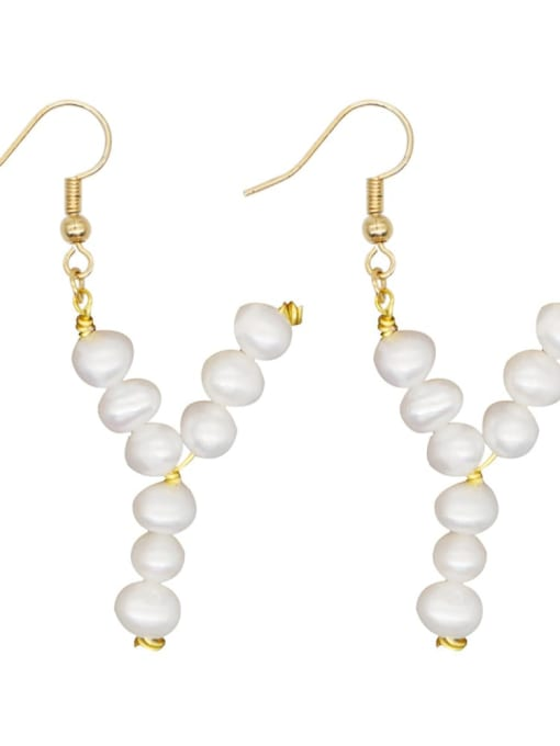 ZZ E200079Y Stainless steel Freshwater Pearl Letter Ethnic Drop Earring