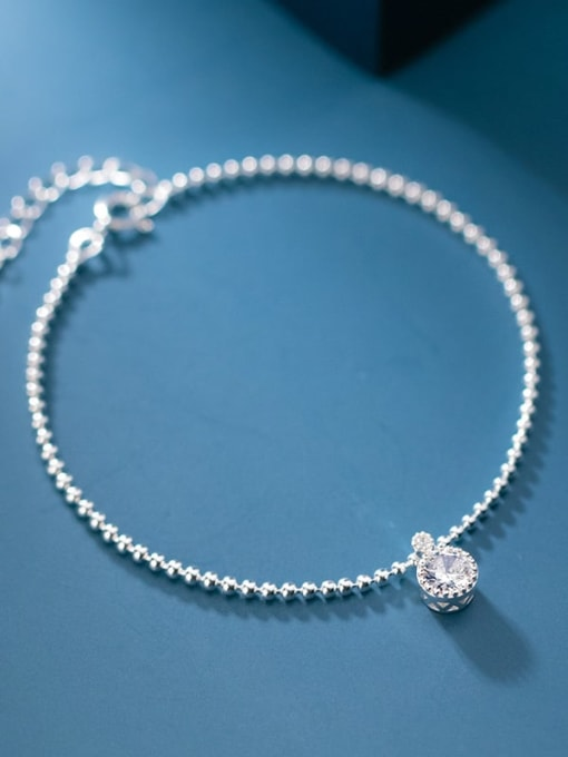 Rosh 925 Sterling Silver Cubic Zirconia Round Minimalist Beaded Bracelet