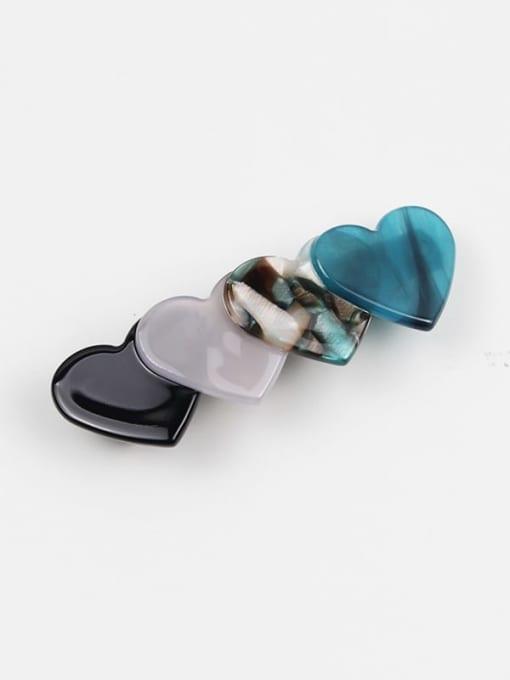 HUIYI Cellulose Acetate Minimalist Heart Zinc Alloy Spring clip Hair Barrette 0
