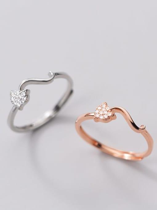 Rosh 925 Sterling Silver Rhinestone Heart Minimalist Band Ring
