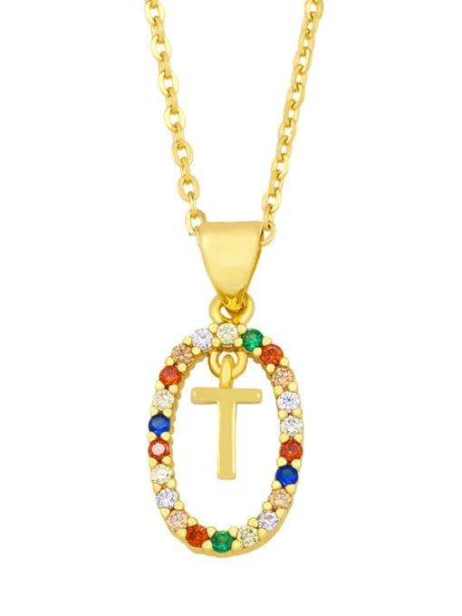 T Brass Cubic Zirconia Letter Vintage Oval Pendant Necklace