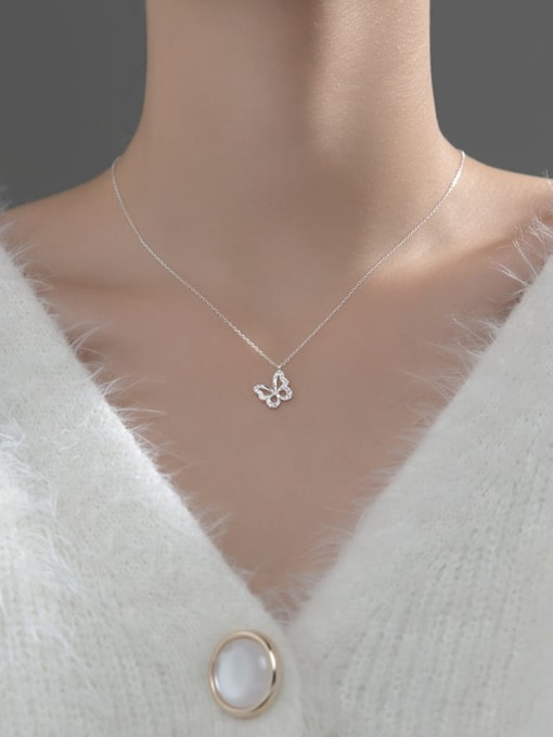 Rosh 925 Sterling Silver Cubic Zirconia Butterfly Minimalist Necklace 2