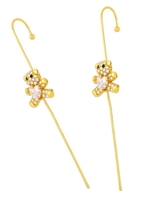 Bear cub Brass Cubic Zirconia Butterfly Minimalist Hook Earring