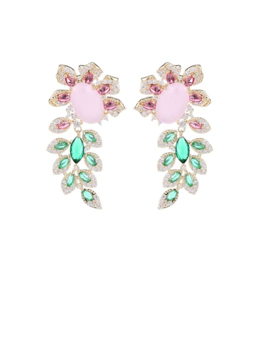 Luxu Brass Cubic Zirconia Flower Luxury Drop Earring