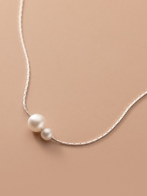 Rosh 925 Sterling Silver Imitation Pearl Minimalist Necklace 2