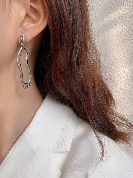 Boomer Cat 925 Sterling Silver Asymmetry Irregular Vintage Stud Earring 1