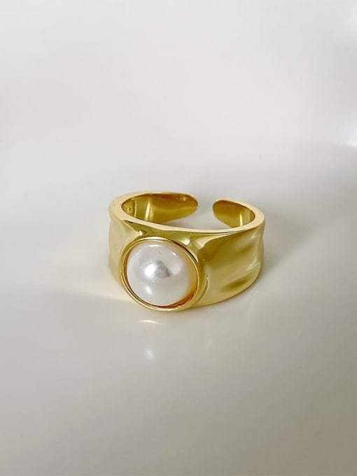 Boomer Cat 925 Sterling Silver Imitation Pearl Geometric Vintage Band Ring 1