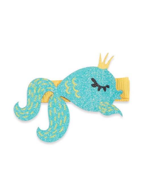 3 whale Princess Alloy Fabric Cute Icon Multi Color Hair Barrette