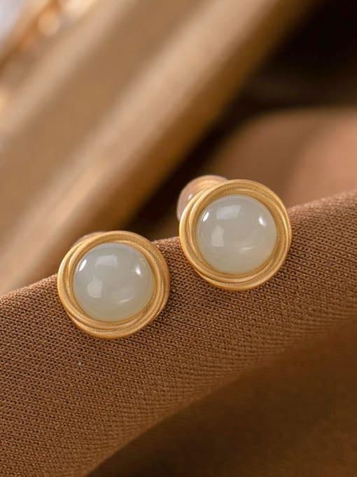 Hotan jade (a pair) 925 Sterling Silver Jade Round Vintage Stud Earring