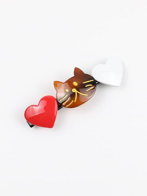 Coffee Cellulose Acetate Minimalist Heart Zinc Alloy Spring clip Hair Barrette