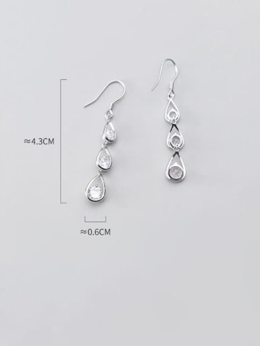 Rosh 925 Sterling Silver  Cubic Zirconia Water Drop Dainty Hook Earring 2