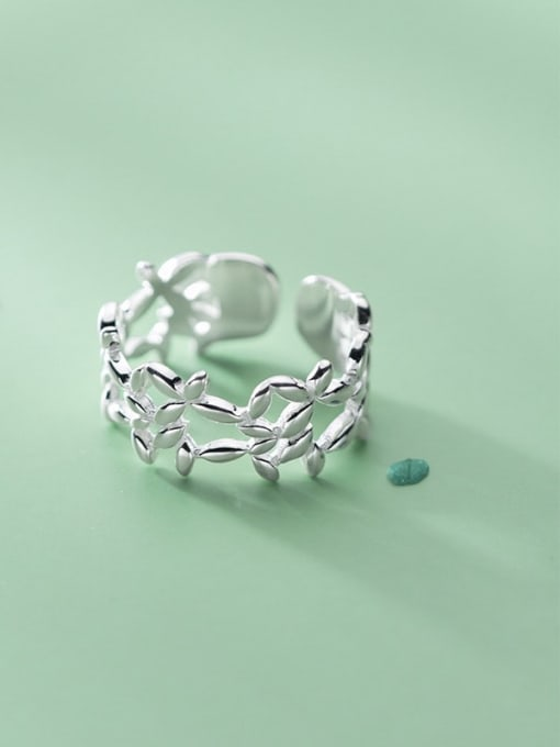 Rosh 925 Sterling Silver Hollow Flower Minimalist Band Ring 0