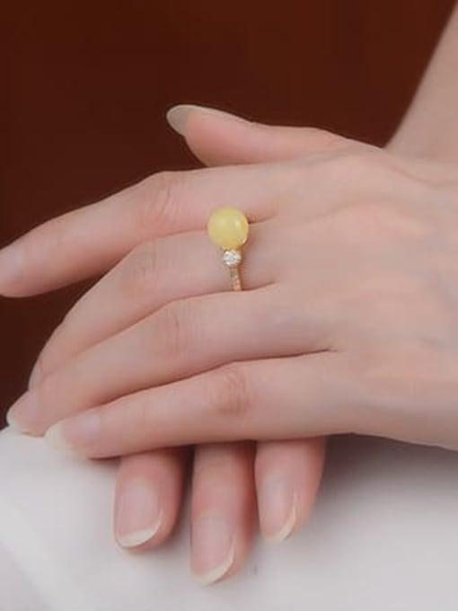 DEER 925 Sterling Silver Jade Round Minimalist Band Ring 1