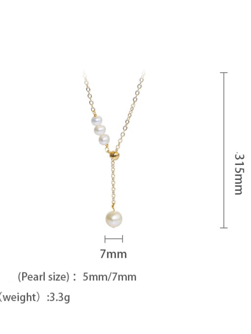 golden Brass Freshwater Pearl Tassel Vintage Lariat Necklace