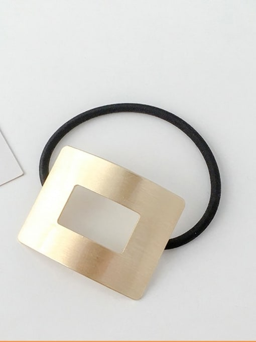 13 gold hollow rectangle Rubber band Minimalist Geometric Alloy Hair Rope