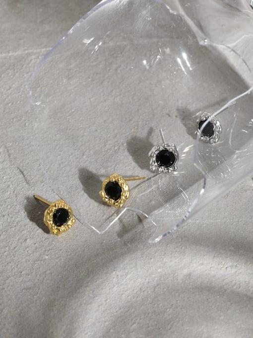 DAKA 925 Sterling Silver Cubic Zirconia Geometric Hip Hop Stud Earring 4