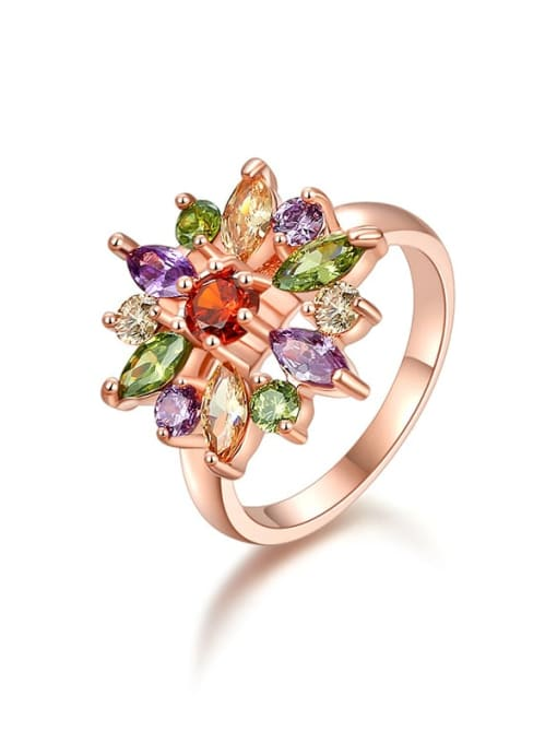 rose gold Brass Cubic Zirconia Flower Luxury Band Ring