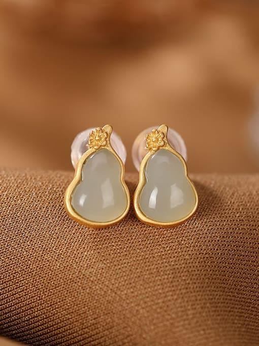 DEER 925 Sterling Silver Jade Geometric Vintage Stud Earring 0
