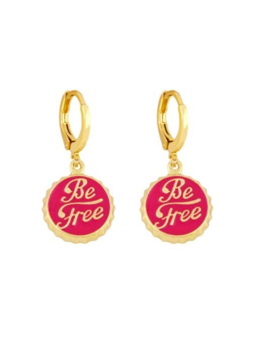 rose gold Brass Enamel Round Letter Vintage Huggie Earring