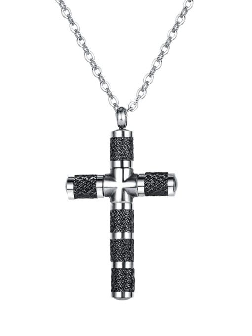 1866 Gold Plated Steel Necklace Titanium Steel Cubic Zirconia Cross Minimalist Necklace