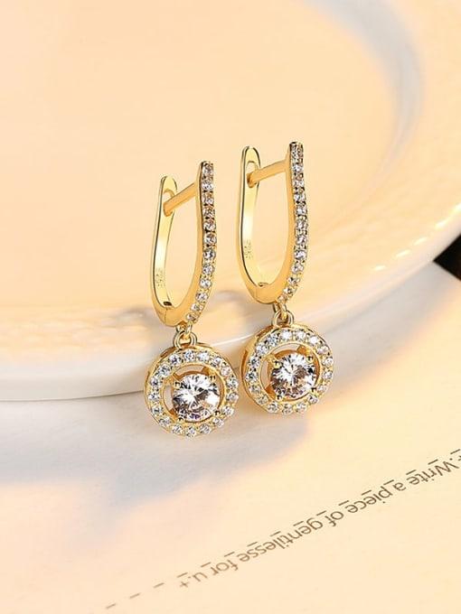 18K 24J03 925 Sterling Silver Cubic Zirconia Geometric Luxury Huggie Earring