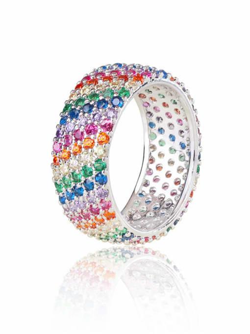 DUDU Brass Cubic Zirconia Geometric Minimalist Band Ring 0