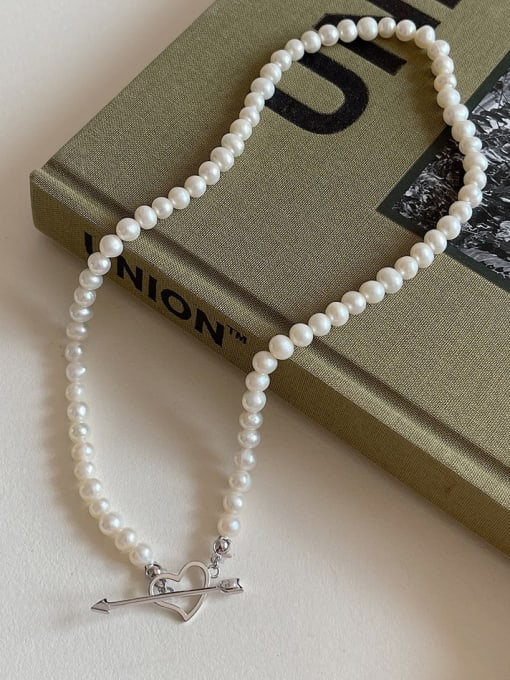 Boomer Cat 925 Sterling Silver Imitation Pearl Heart Vintage Necklace