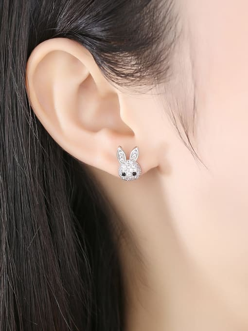 BLING SU Copper Cubic Zirconia rabbit Luxury Stud Earring 1