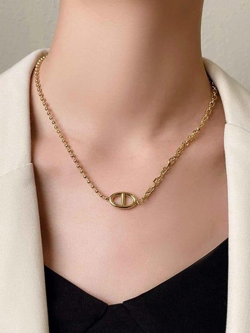 A TEEM Titanium Steel  Hollow Geometric Vintage Pendant Necklace 4