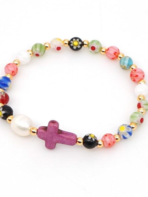 B B200028D Stainless steel Glass Bead Multi Color Cross Bohemia Beaded Bracelet
