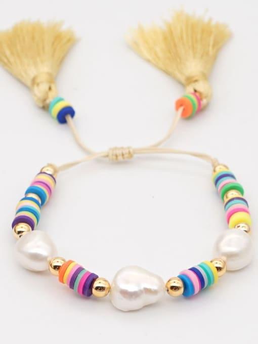 Roxi Stainless steel Freshwater Pearl Polymer Clay Irregular Bohemia Adjustable Bracelet 2