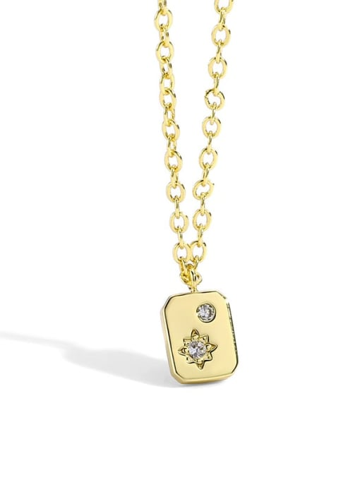 CHARME Brass Rhinestone Minimalist geometry Pendant Necklace 4