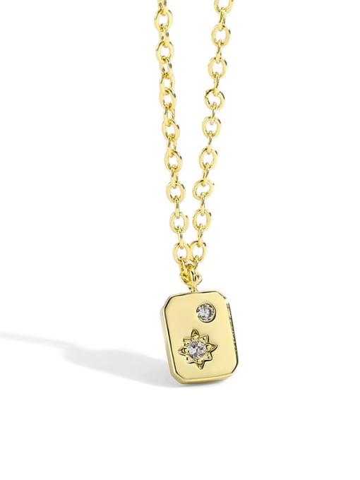 Gold Square Necklace Brass Rhinestone Minimalist geometry Pendant Necklace