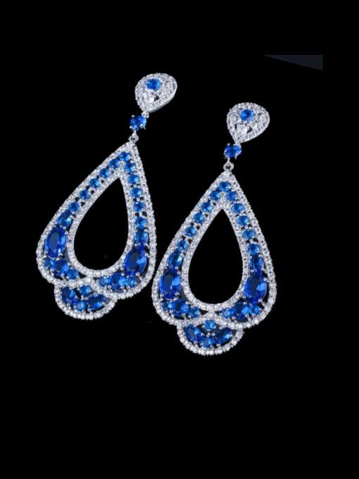 Platinum blue Brass Cubic Zirconia Water Drop Luxury Drop Earring