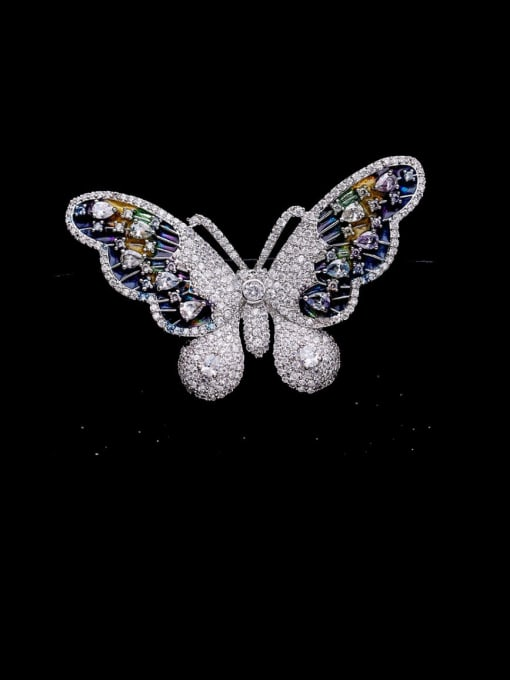 Luxu Brass Cubic Zirconia Butterfly Cute Brooch 0