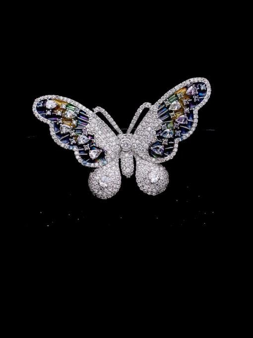 Luxu Brass Cubic Zirconia Butterfly Cute Brooch