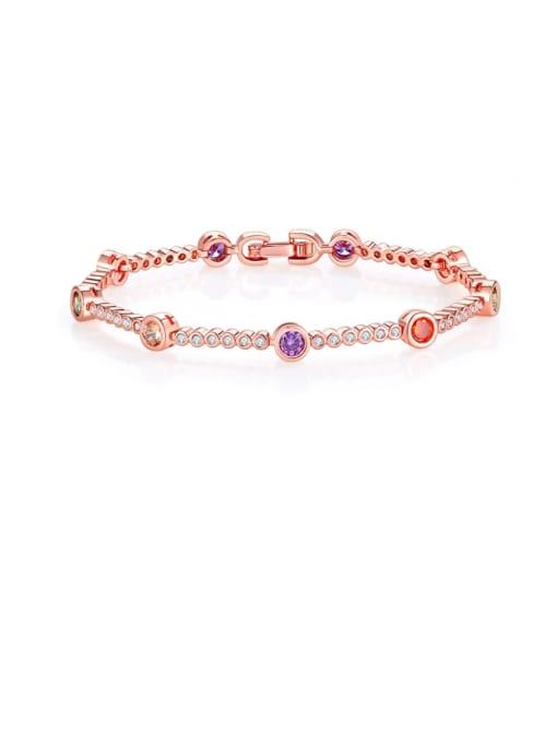 DUDU Brass Cubic Zirconia Multi Color Geometric Minimalist Bracelet