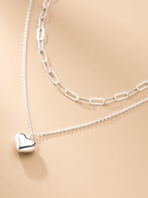 Rosh 925 Sterling Silver Heart Minimalist Multi Strand Necklace 0