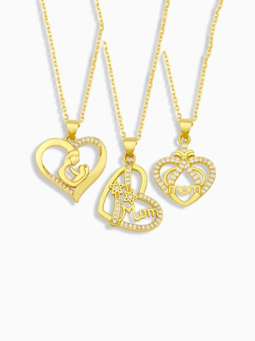 CC Brass Cubic Zirconia Mom Heart Minimalist Necklace