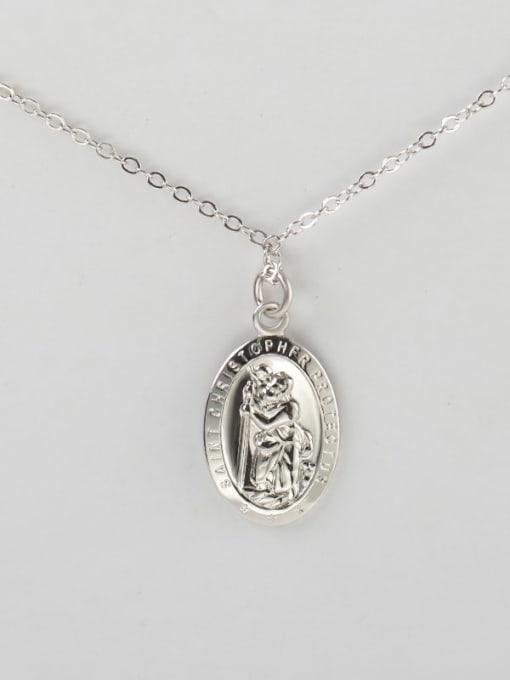 C platinum 925 Sterling Silver Geometric Vintage Pendant Necklace