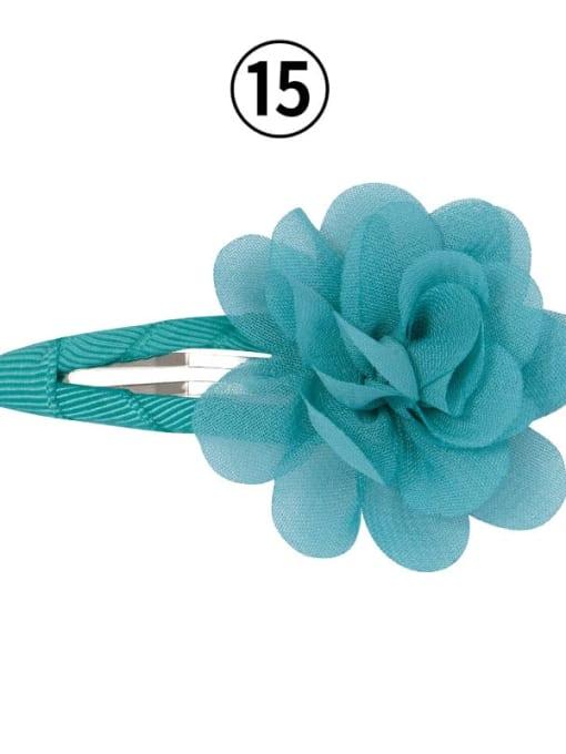 15 sapphire green Alloy Yarn Minimalist Flower  Multi Color Hair Barrette