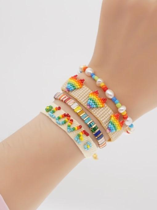 MI S210072 Stainless steel Multi Color Polymer Clay Letter Bohemia Handmade Weave Bracelet