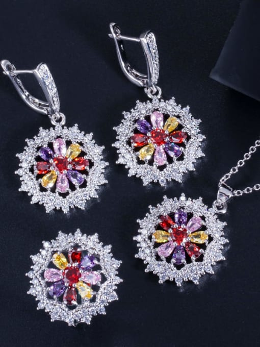 Color ring size 7 Dainty Flower Brass Cubic Zirconia Earring Ring and Necklace Set