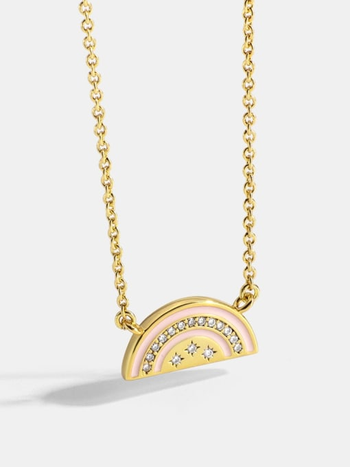 CHARME Brass Rhinestone Enamel Geometric Minimalist  Rainbow Oil Drop  Necklace 0