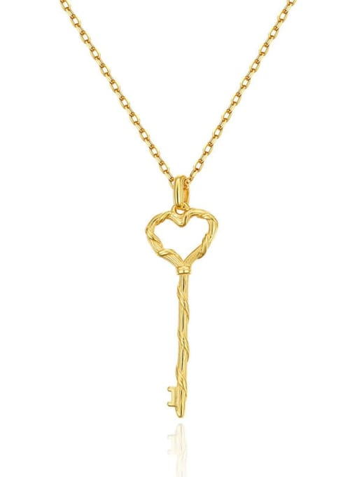 Boomer Cat 925 Sterling Silver Hollow Key Minimalist Necklace 1