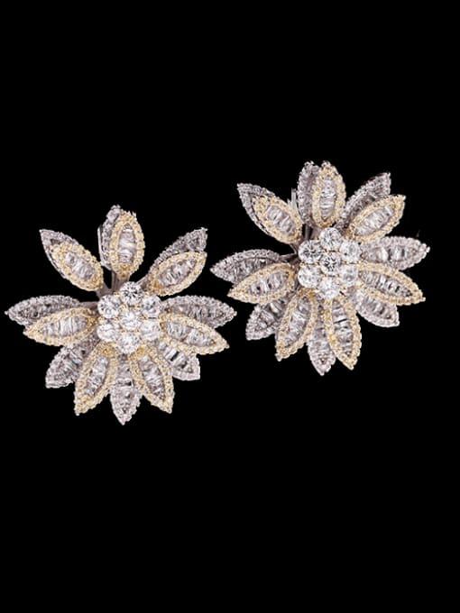 White+ yellow Brass Cubic Zirconia Flower Luxury Stud Earring