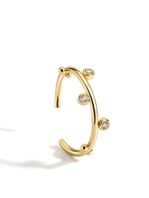 Gold circle ring Brass Rhinestone Irregular Minimalist Band Ring
