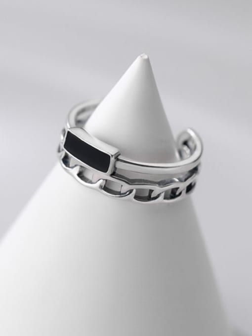 Rosh 925 Sterling Silver Acrylic Geometric Vintage Stackable Ring 2