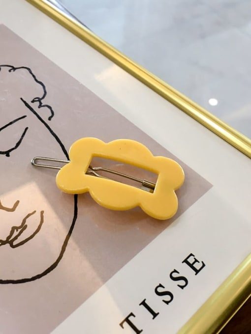 Rectangle yellow Cellulose Acetate Minimalist Hollow Geometric Hair Pin