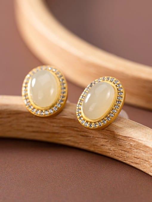 White jade (a pair) 925 Sterling Silver Carnelian Oval Vintage Stud Earring
